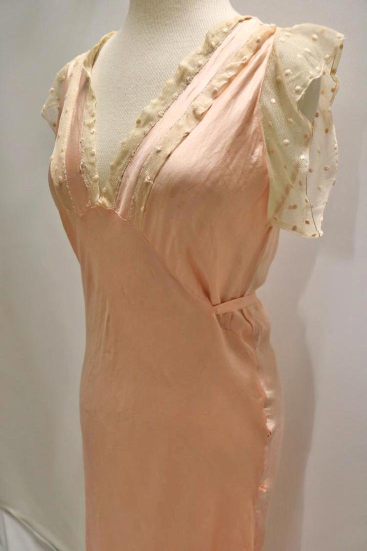 vintage 1930's silk negligee nightgown peach lace - 4