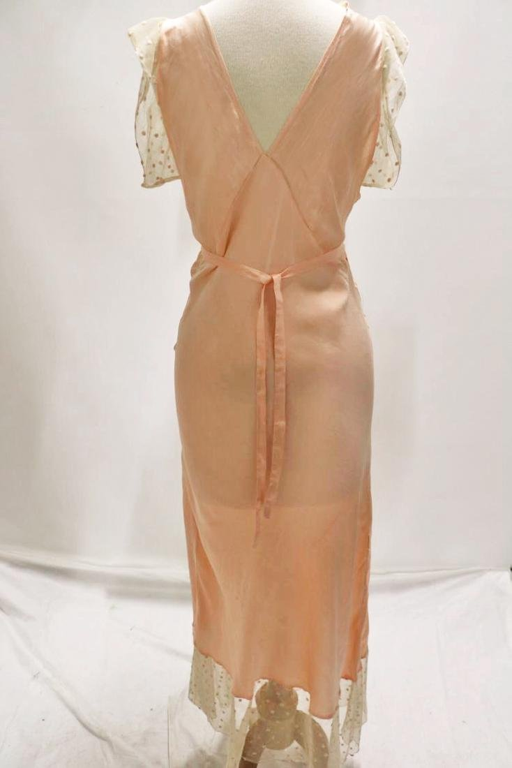 vintage 1930's silk negligee nightgown peach lace - 6