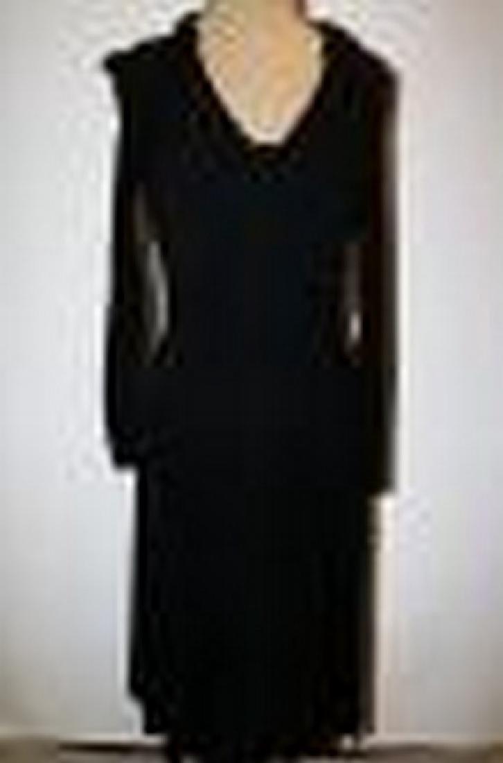 1960/70's Black Polyester long sleeve Dress