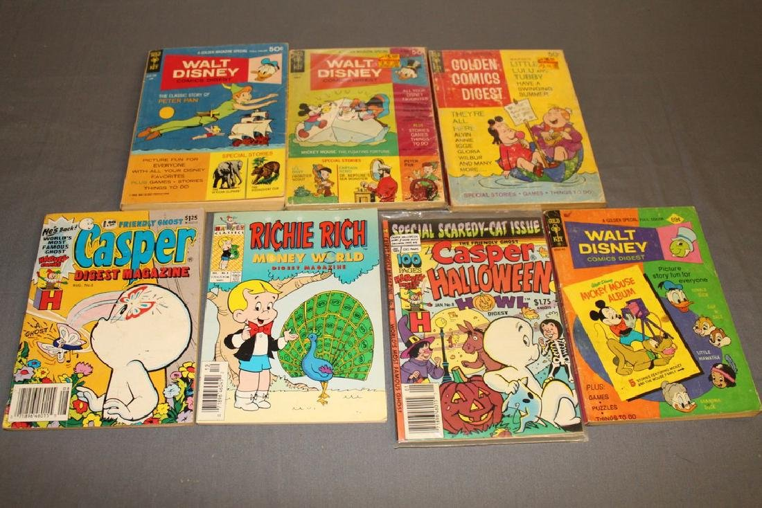 lot of 7 comic Digests, Disney, Richie Rich, Casper &