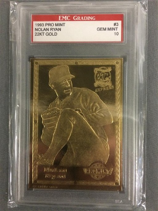 1993 Pro Mint Nolan Ryan 22kt Gold Baseball Card Graded