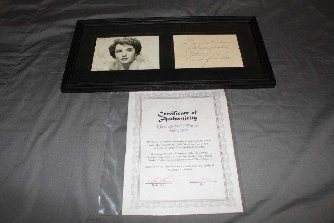 Elizabeth Taylor (Warner) Autograph COA