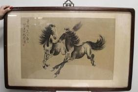 Framed Old Chinese Horse Painting on Rice Paper, signed