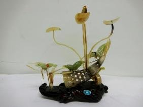 Carved Jade and Horn standing art, Cray fish & Lily
