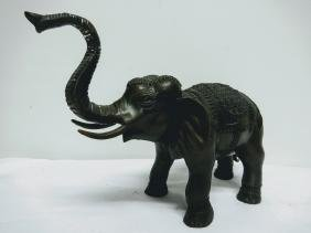 Bronze Elephant, Tusk up, Elaborate Blanket and head