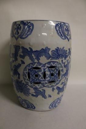 Chinese Blue & White Porcelain Glaze Garden Stool