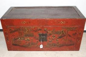 Hand Painted Red Lacquer Asian Double Door Cabinet