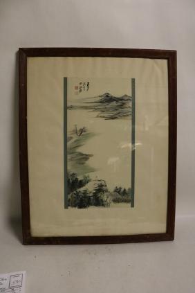 "Tebang Ta T'sien 1889 signed Watercolor, ""Paysage"""