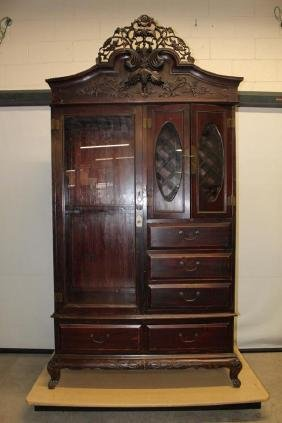 Large Asian Kitchen Pantry Cabinet with Wine Rack