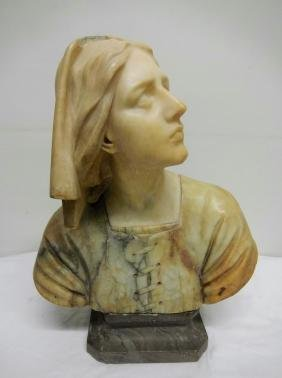 Carved Marble Bust of Joan of Arc, by E. Castellucci