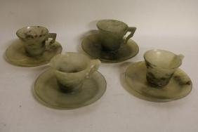lot of 4 Chinese Jade Tea Cups and Saucers