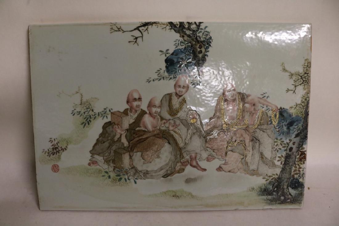 lg Asian Hand Painted Ceramic Tile