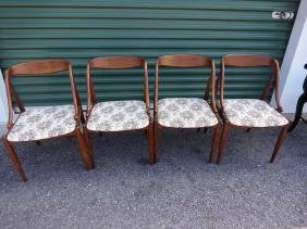 4 Mid-Century Modern Curved Back Chairs