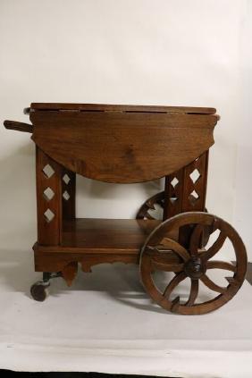 Antique Mahogany Tea Cart with Drop Leaf sides & Wood