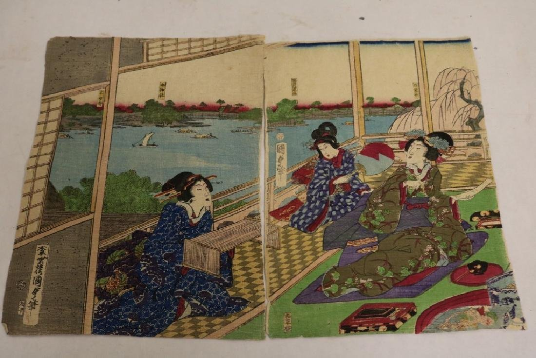 pair Antique Asian Wood Block Prints signed on Rice