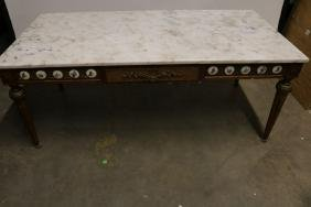 Antique French Coffee Table with Marble Top