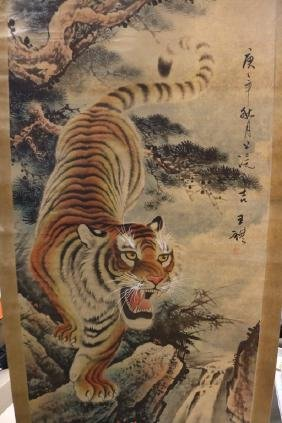 large Chinese Scroll, hand painted water color of Tiger