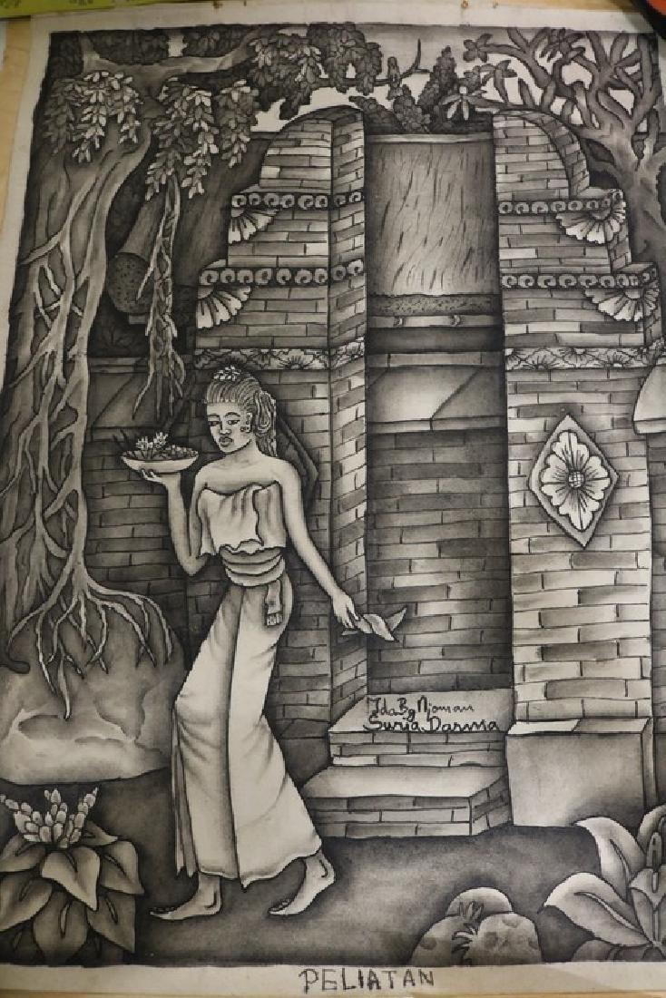 Peliatan Black & White Asian art, Ida Bagus Njoman