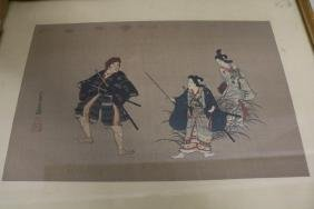 Signed Asian Artwork with Red Stamps, Samurai Fighters