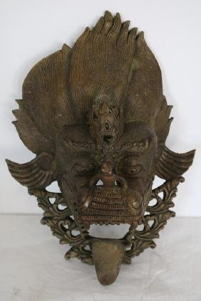 Carved Brass Asian Mask Dragon Head