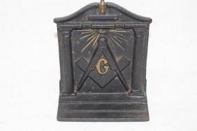 Masonic Bookend/Door stop, cast iron