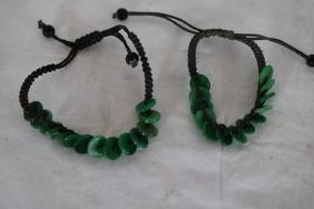Pair of Hand tied Beaded Jade Bracelets