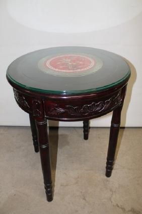 Glass Top Oriental Table with Floral mat