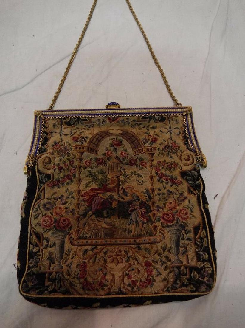 Victorian Petit Point Purse with Enamel & Beaded Clasp