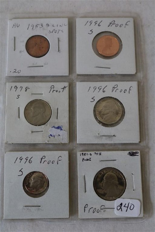 Proof Coins & others, 1953-s wheat Penny