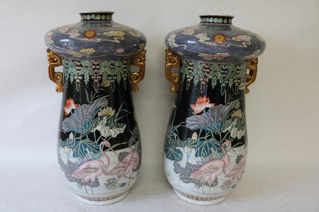 Pair Large Chinese Vases, unusual form, Signed