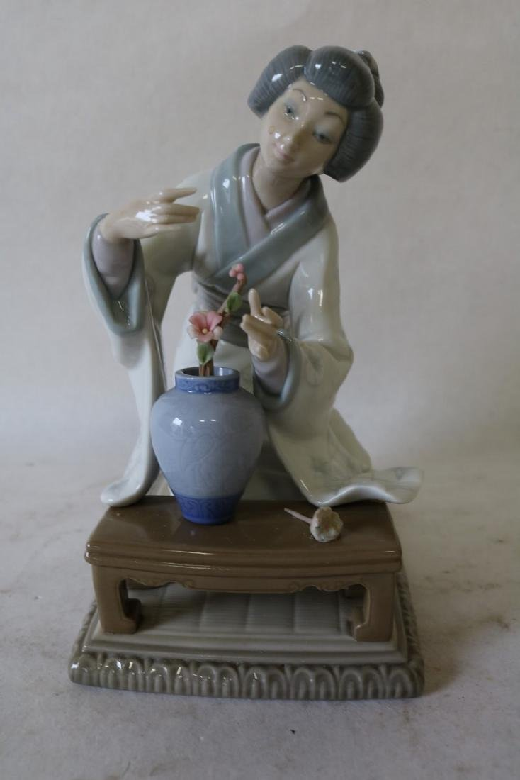 Lladro, Asian Lady with Flower Pot, marked J-6