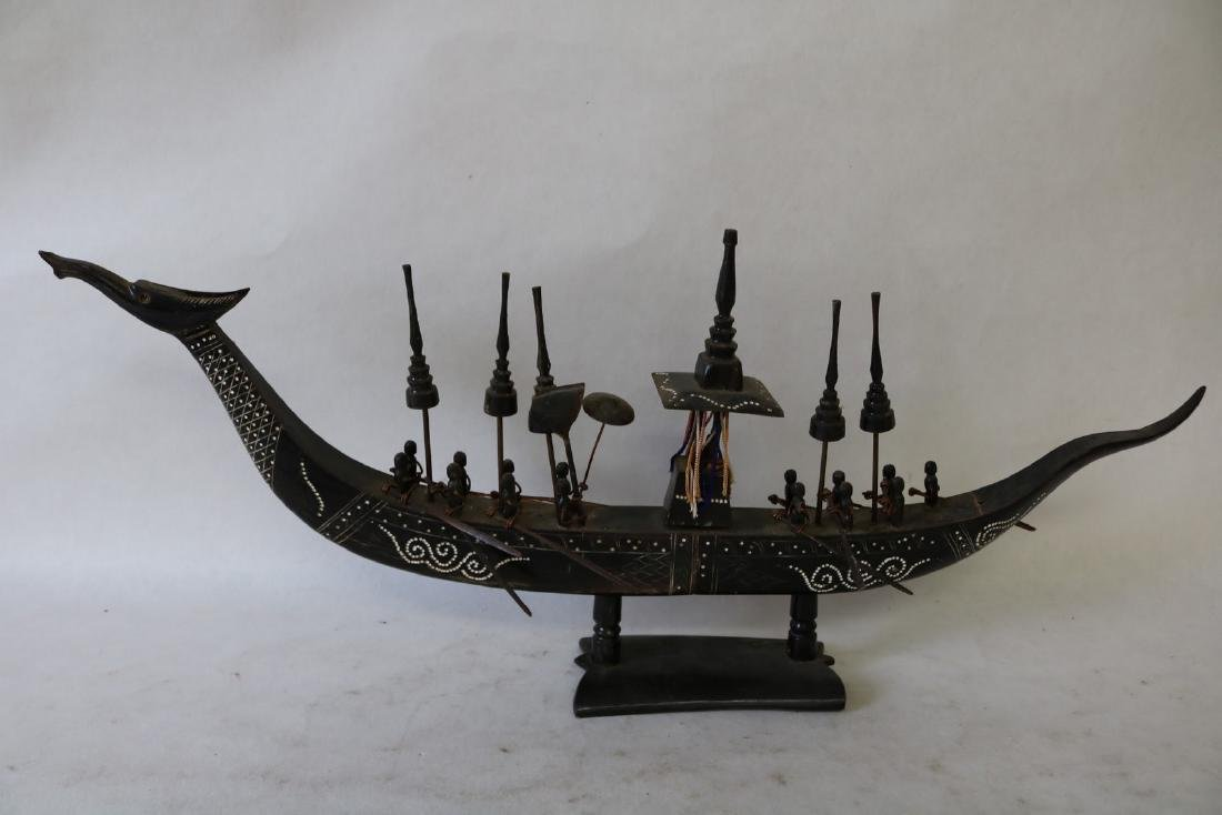 Carved Buffalo Horn Dragon Boat, Decorative Tribal