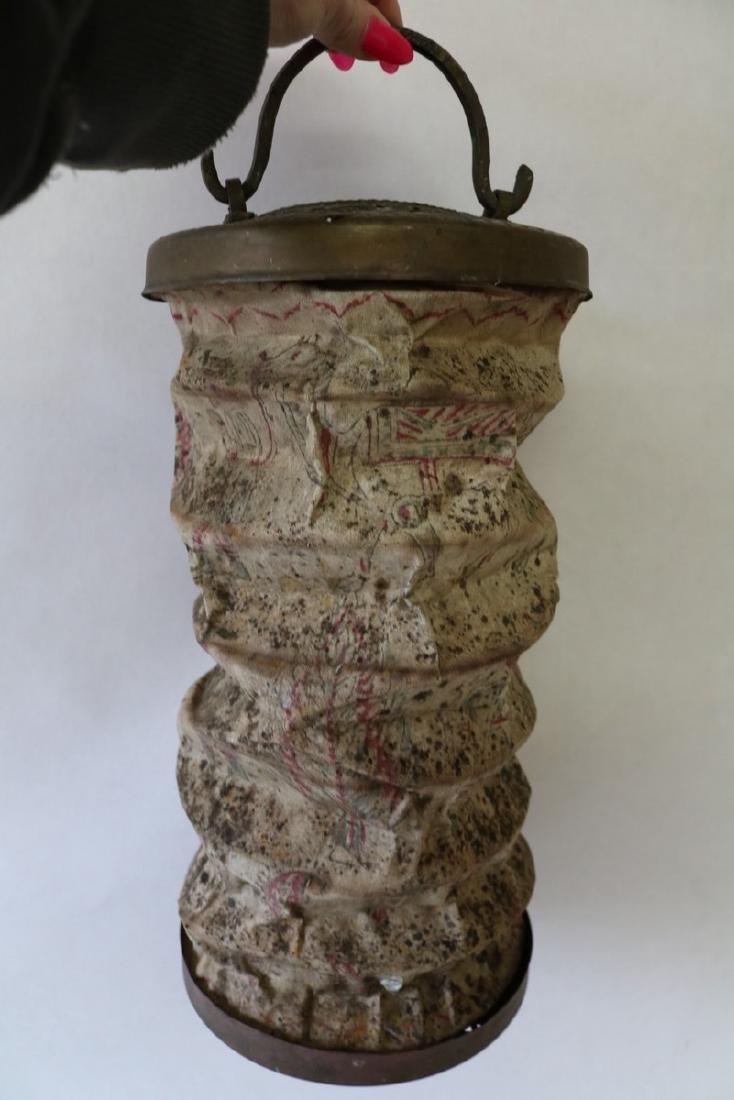 Antique Asian Canvas Lantern with Brass Trim