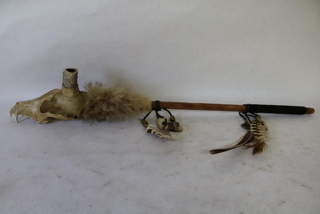 Native American Animal Skull Peace Pipe