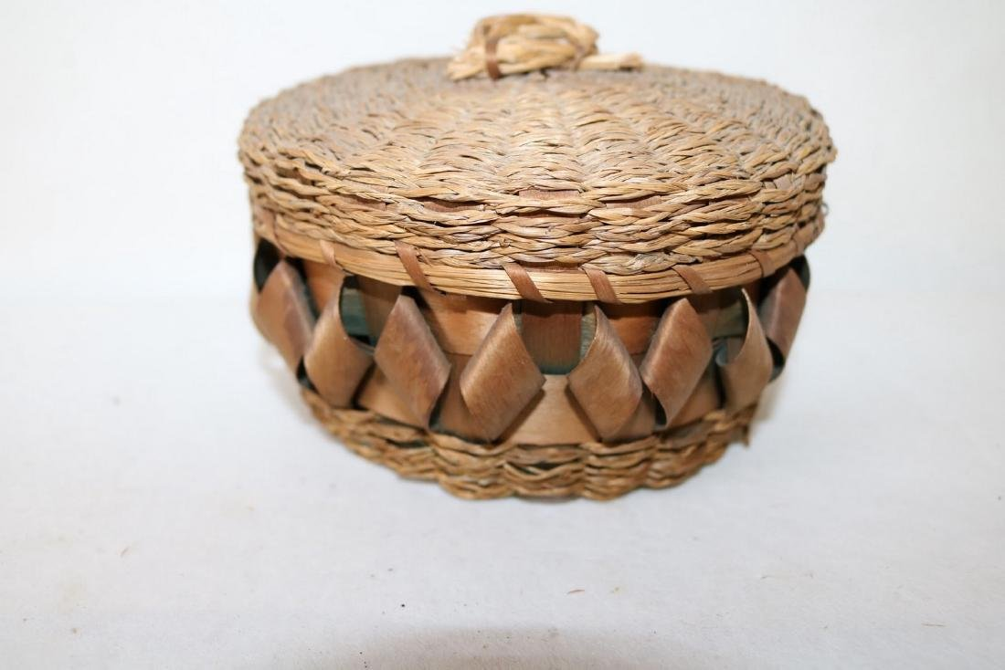 Antique Woven Twisted Ribbon Wicker Basket, with sea