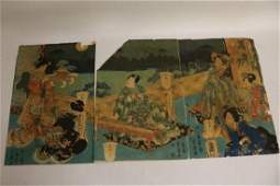 set of 3 Asian Wood Block Prints on Rice paper signed
