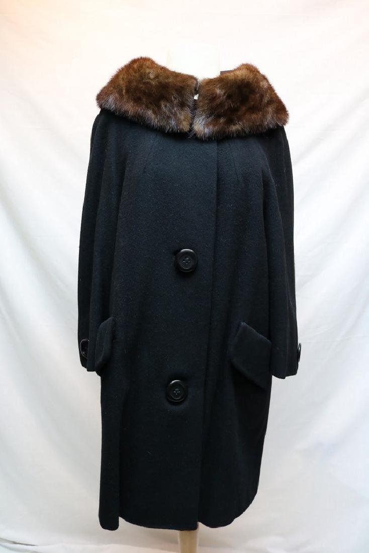 1960's Black Wool & Fur Trim Coat