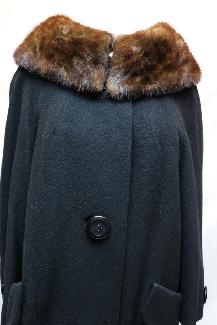 1960's Black Wool & Fur Trim Coat - 2