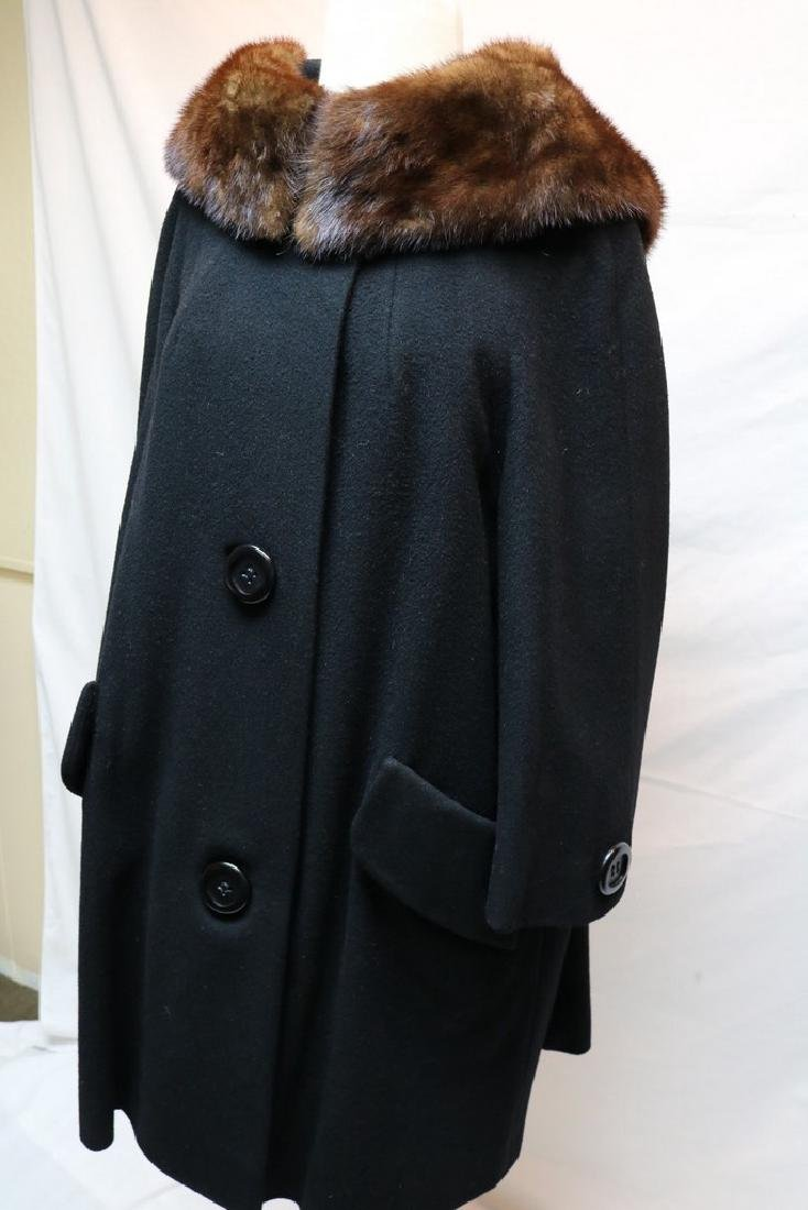 1960's Black Wool & Fur Trim Coat - 3