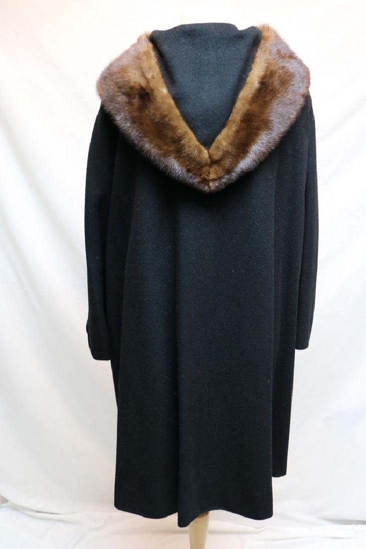 1960's Black Wool & Fur Trim Coat - 4