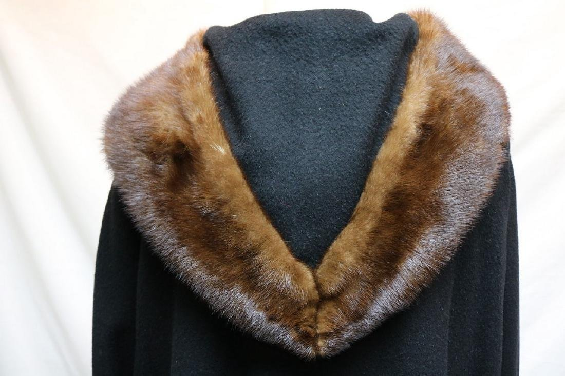 1960's Black Wool & Fur Trim Coat - 5