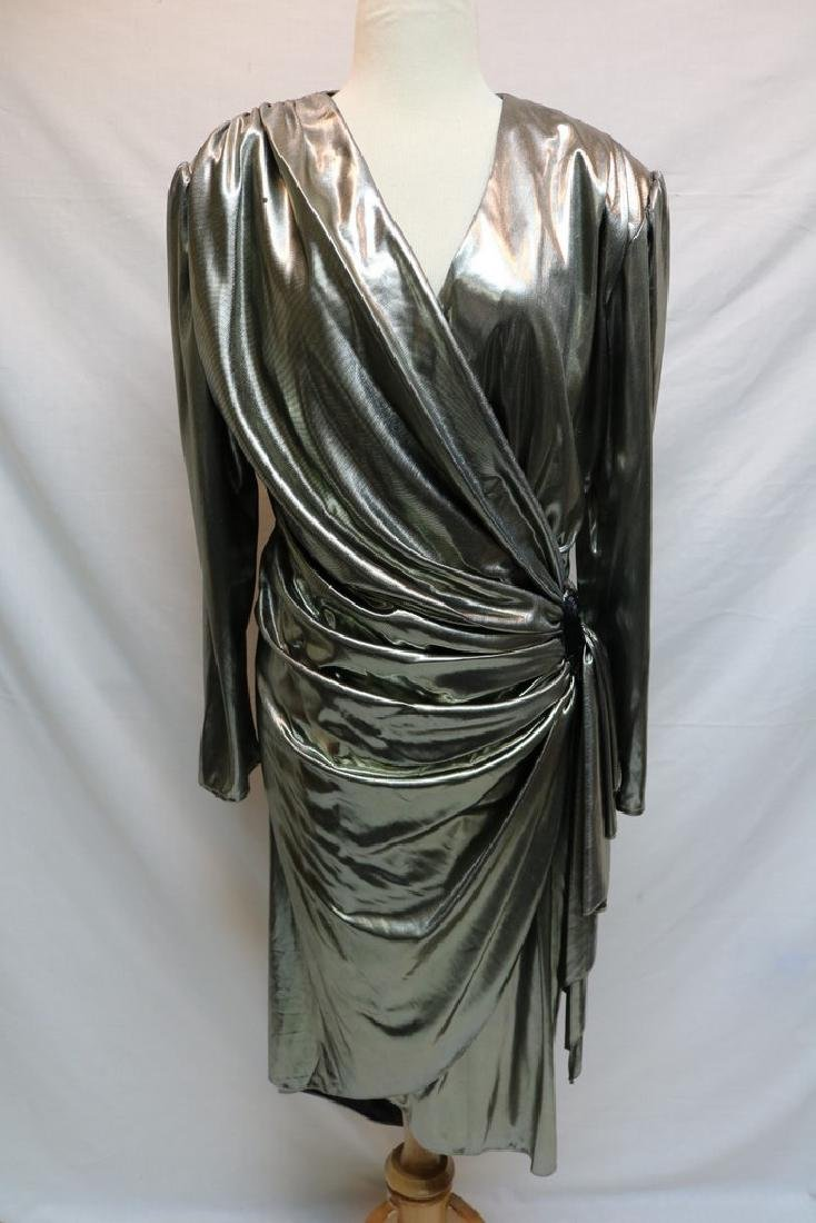 1980's Silver Metallic Wrap Dress by Night Moves