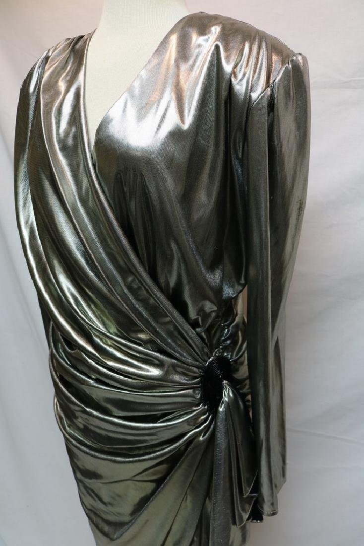 1980's Silver Metallic Wrap Dress by Night Moves - 2