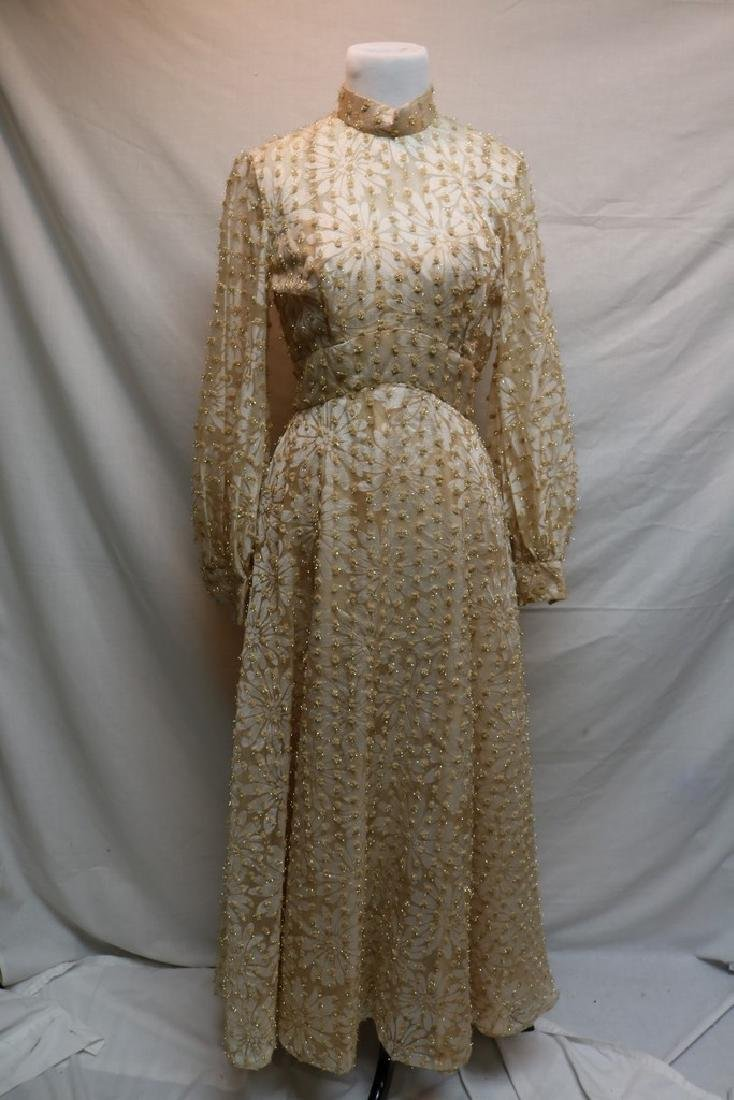 1960's Champagne Floral Gown, Metallic Gold Tinsel