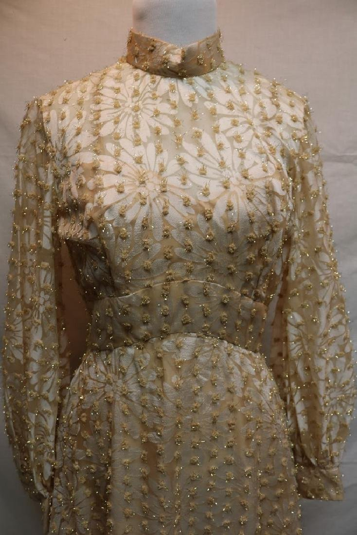 1960's Champagne Floral Gown, Metallic Gold Tinsel - 2