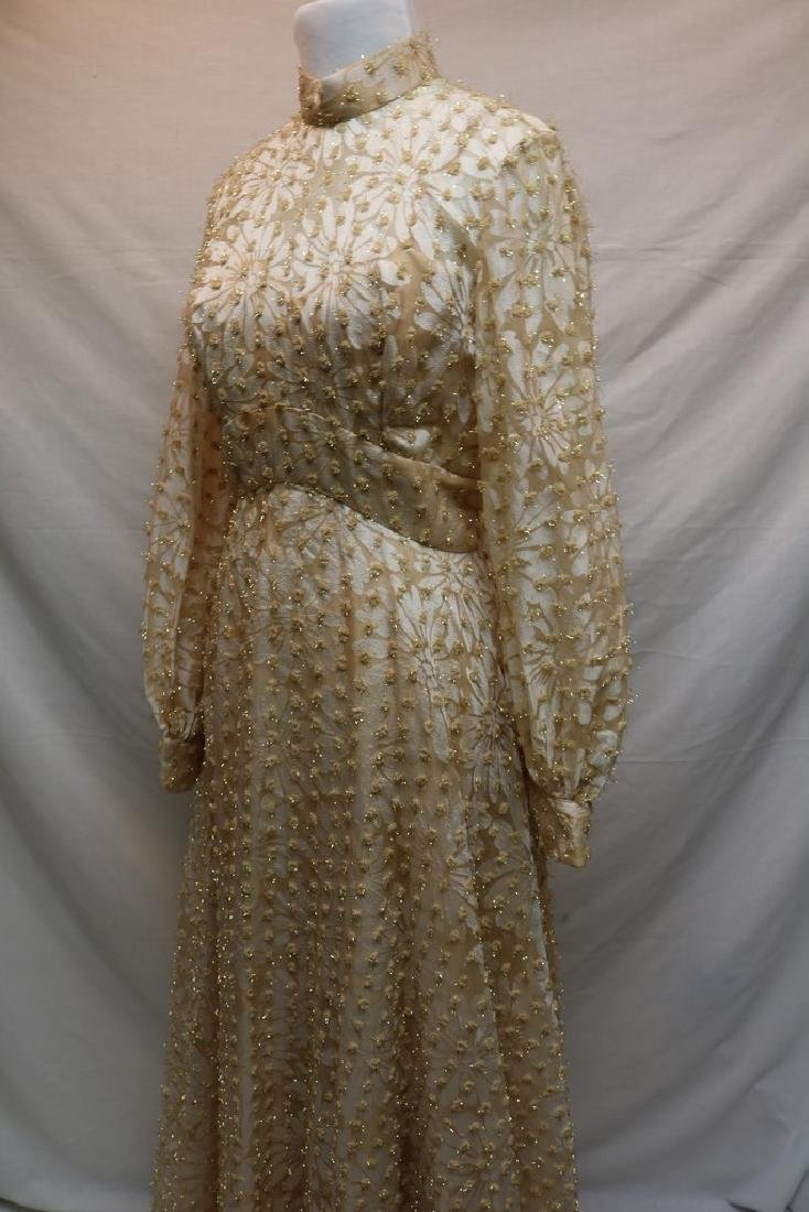 1960's Champagne Floral Gown, Metallic Gold Tinsel - 4