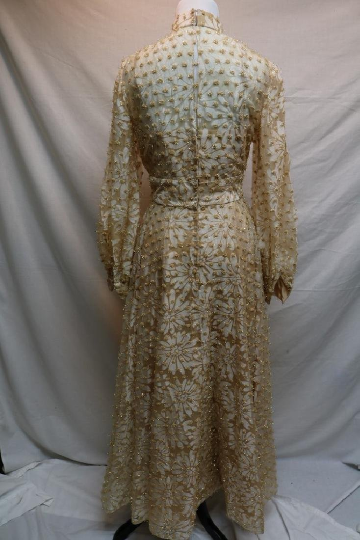 1960's Champagne Floral Gown, Metallic Gold Tinsel - 5