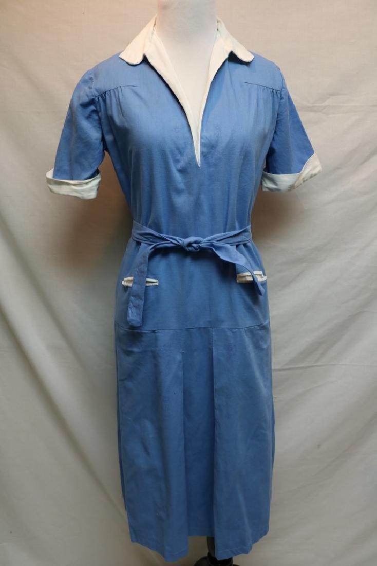 1960's Blue Cotton Day Dress
