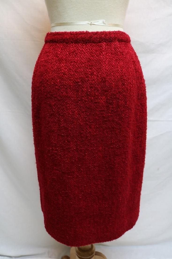 1960's Cranberry Tweed Pencil Skirt - 3