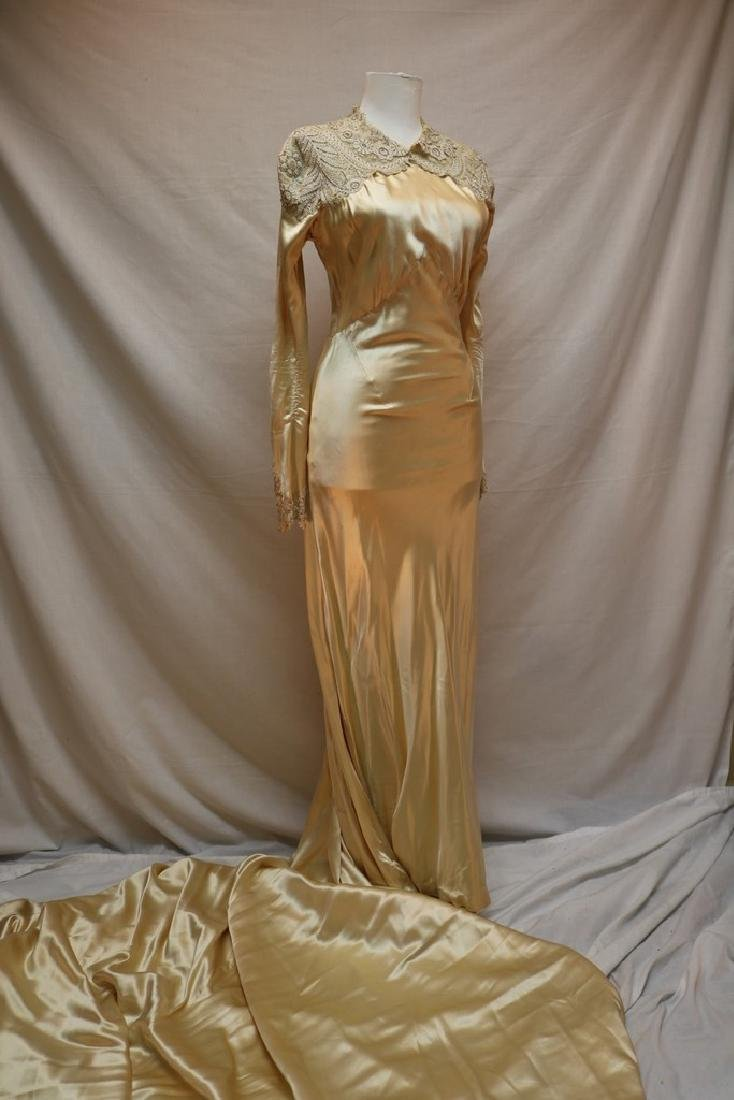 1930's Satin and Lace Wedding Gown with Cathedral Train
